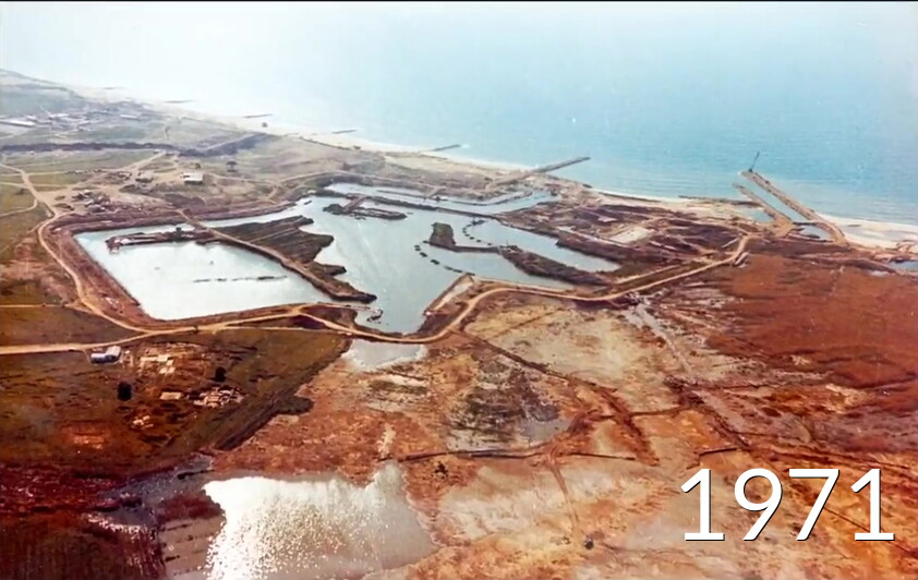 excavation de la marina en 1971