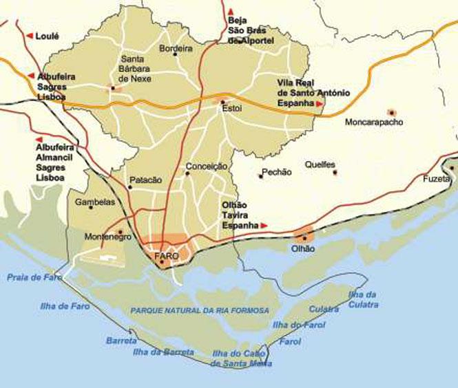 Carte Espagne Faro.Cartes Algarve